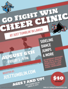 JT Go Fight Win Cheer Clinic - Made with PosterMyWall